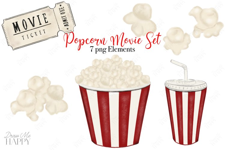 Popcorn Clipart, Movie Clipart, Popcorn png, Food clipart example image 1