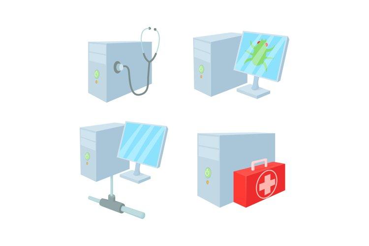 Desktop pc icon set, cartoon style example image 1