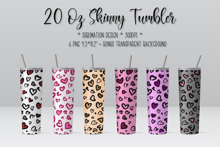 Skinny Tumbler Sublimation. Heart Leopard Tumbler Design.
