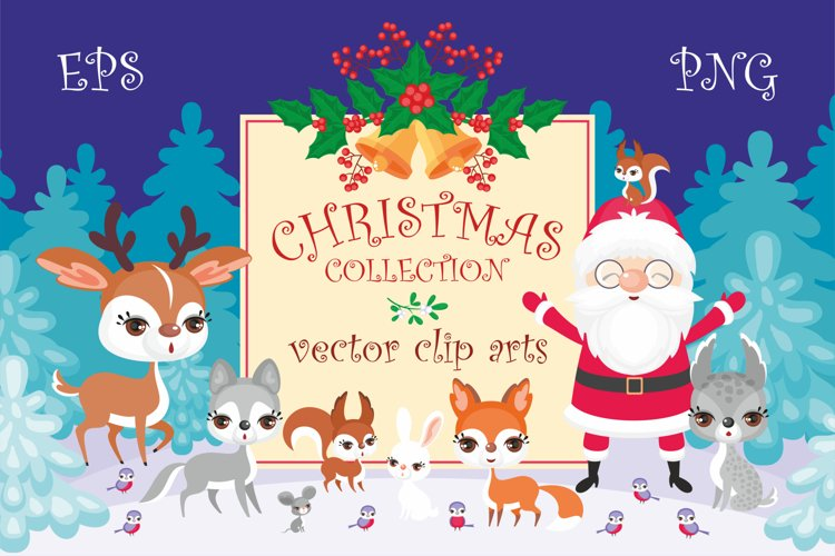 Christmas collection. Cute animals and Santa.