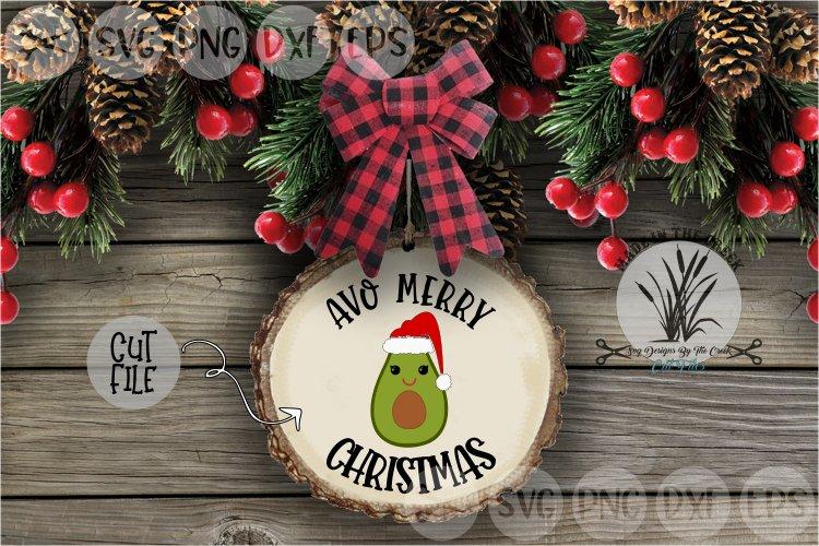 Avo Merry Christmas, Avocado, Santa Hat, Cut File, SVG example image 1