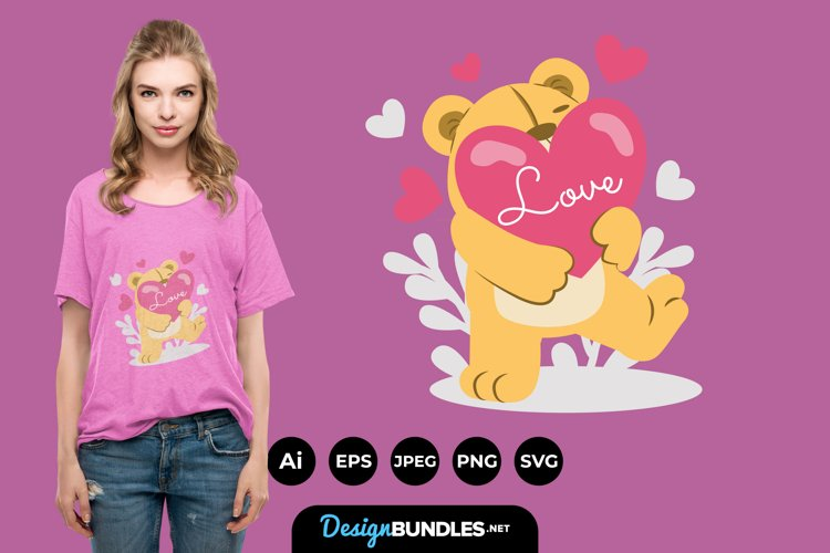 Valentines Day Teddy Bear Illustrations for T-Shirt Design