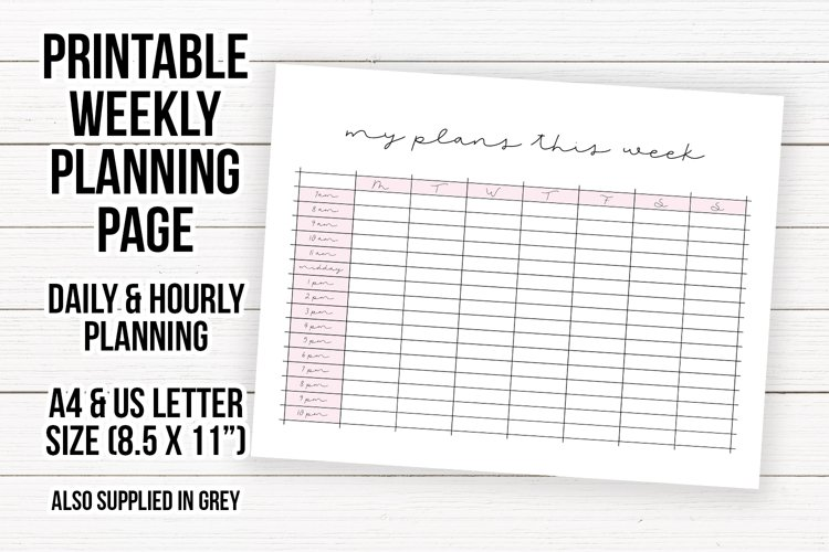 Printable Weekly Planning Sheet | Planner Page Sheet