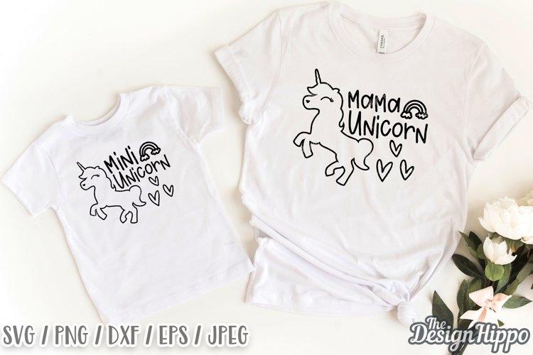 Mama Unicorn SVG, Mini Unicorn SVG, Mommy & Me SVG DXF PNG