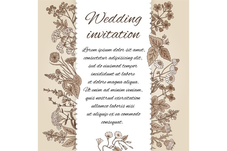 Template of wedding invitation in vintage style. There is pl example image 1