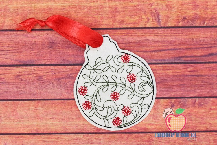 Christmas Ball with Flower Design ITH Ornament example image 1