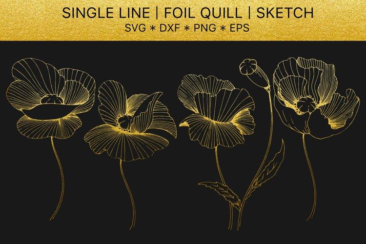 Foil quill svg Flowers Poppies golden monogram