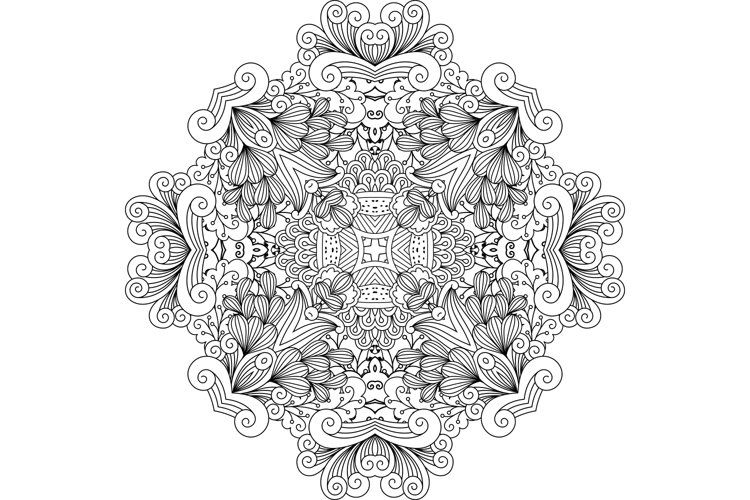 Colorless floral patterns with geometric elements example image 1