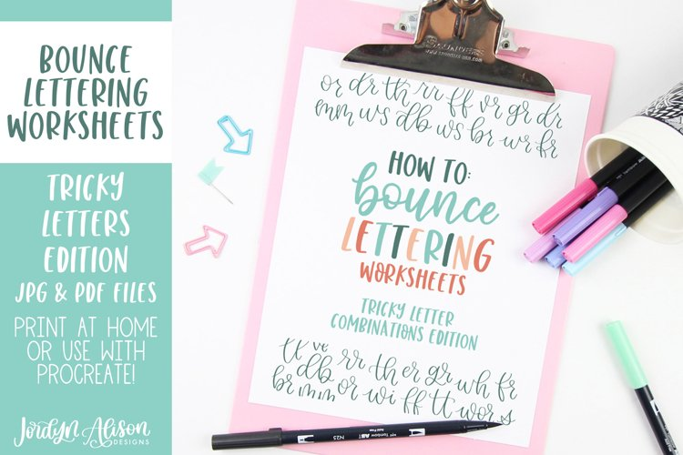 Hand Lettering Guides, Tricky Letter Combinations Worksheets