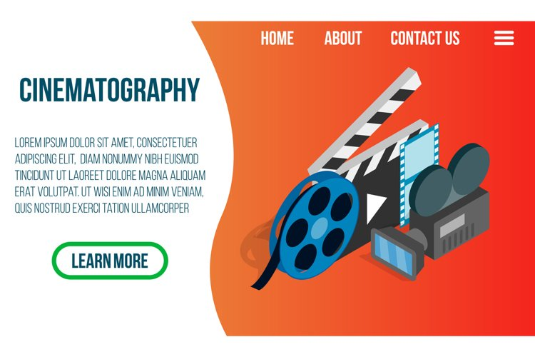 Cinematography concept banner, isometric style example image 1
