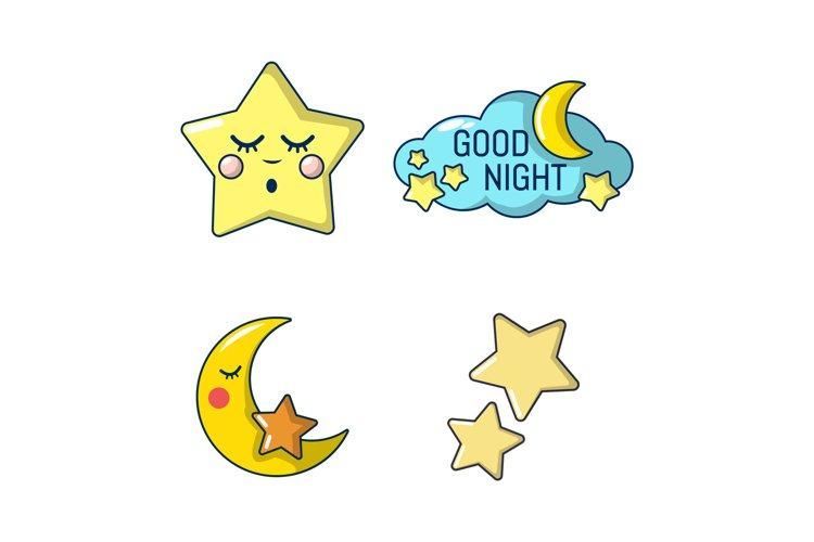 Stars icon set, cartoon style example image 1