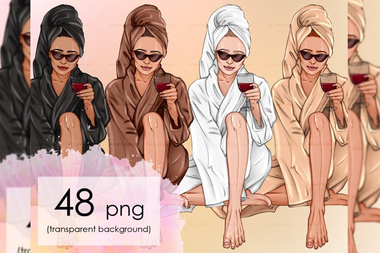 Relaxing wine woman, girl with wine spa, self care afro art