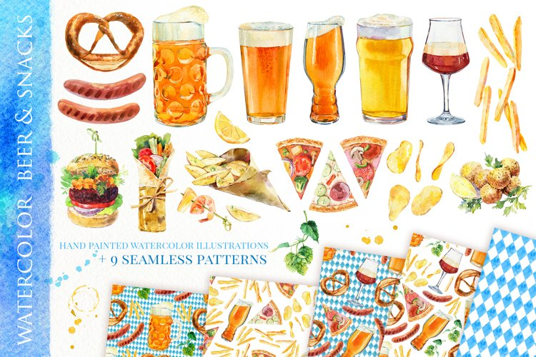 Beer & snacks watercolor collection
