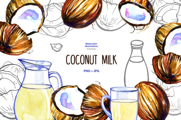 Watercolor coconut milk example image 1