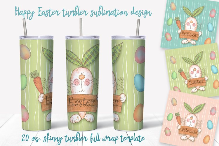 Happy Easter Png. Easter sublimation design. Skinny tumbler example image 1