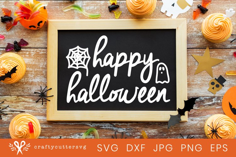 Happy Halloween Svg Cut File Spiderweb Ghost Clipart example image 1