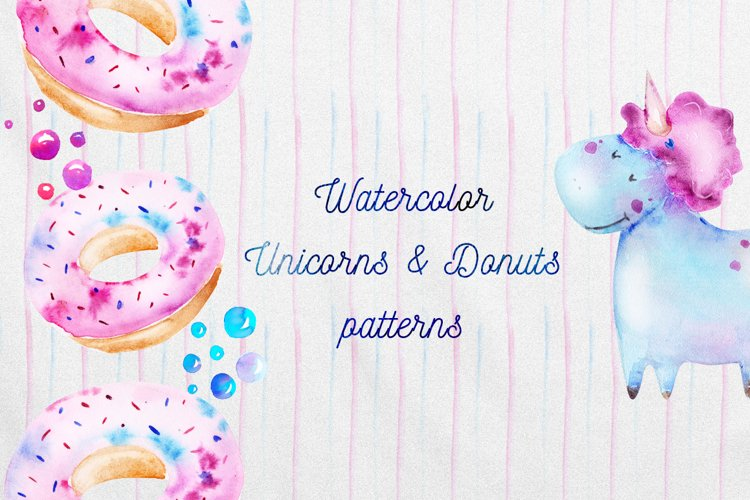 Watercolor Unicorns and Donuts patterns set
