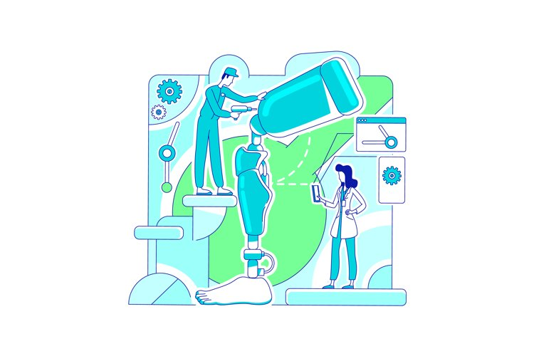 Prosthetics laboratory thin line concept vector illustration example image 1