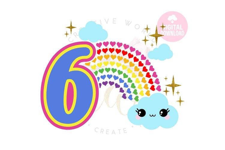 6th Birthday svg | My 6th Birthday svg | Rainbow Birthday example image 1