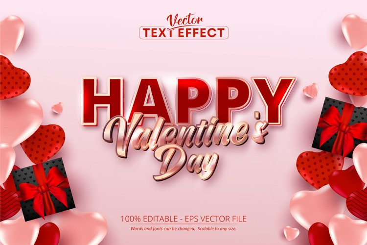 Happy valentines day text, shiny rose gold color text effect