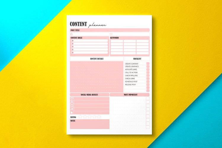 Social Media Content Planner Pink