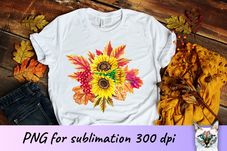 Sunflowers Fall Sublimation Design example image 1