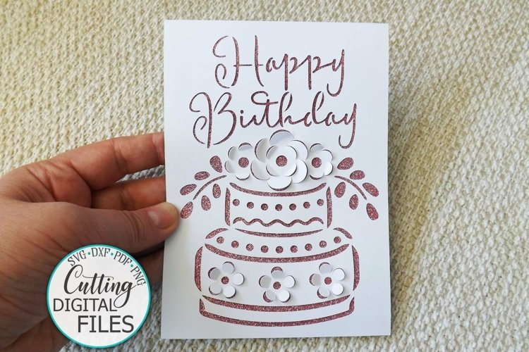 Pop Up Birthday Card svg cut out Cake with flowers svg