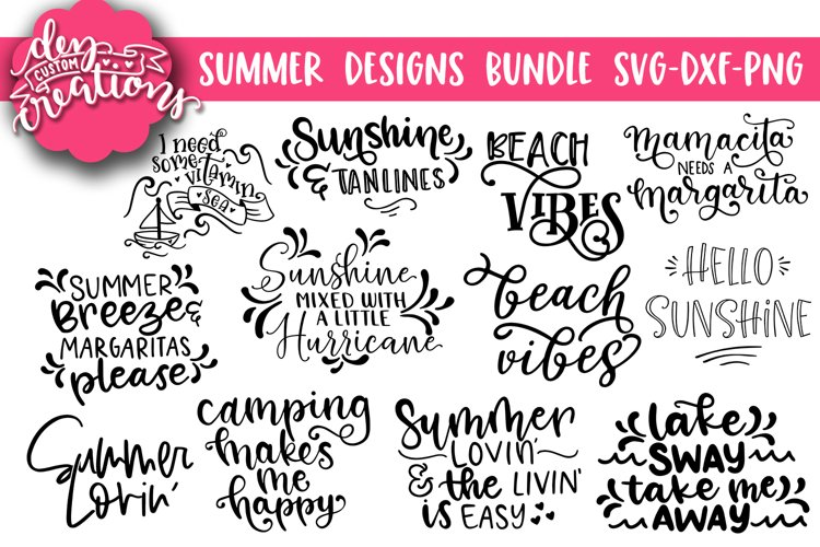 Summer Designs Bundle - SVG DXF PNG Cut Files for Cricut