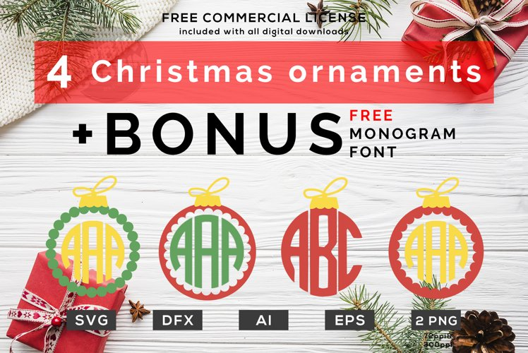 4 Monogram Ornaments - Christmas Monogram SVGs Bundle example image 1