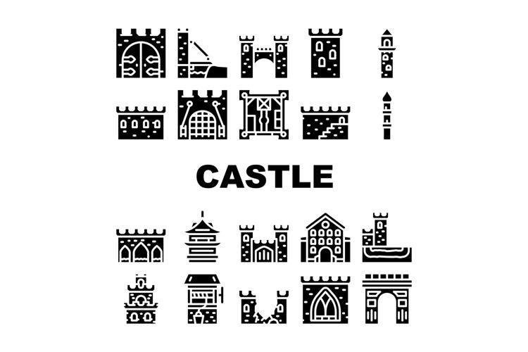 Castle Construction Collection Icons Set Vector Illustration example image 1