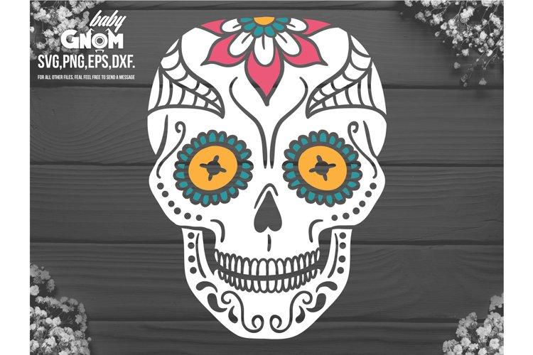 Sugar Skull SVG, Skull svg, Day of the Dead svg ,dia de los example image 1