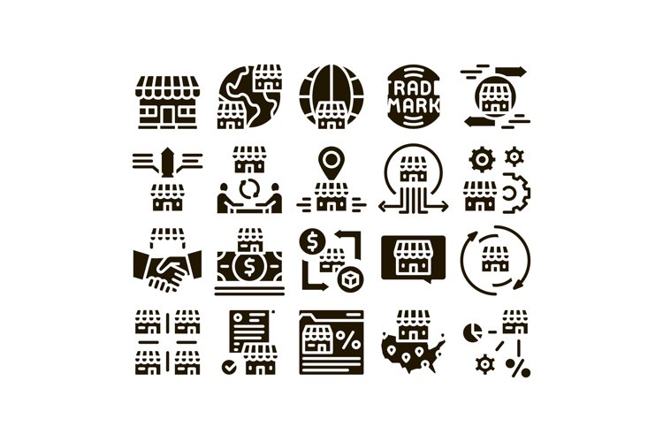 Franchise Business Glyph Set Vector example image 1