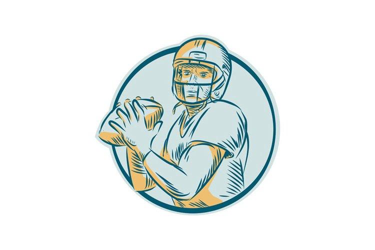 American Football QB Throwing Circle Etching example image 1