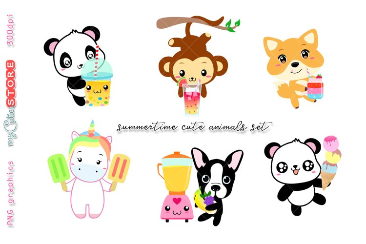 Kawaii animals holding icecream, cold drinks, popscicle, smoothie jars, summertime clip art great for planner stickers or digital planning.