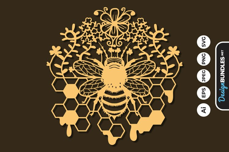 Honey Bee Papercut SVG example image 1