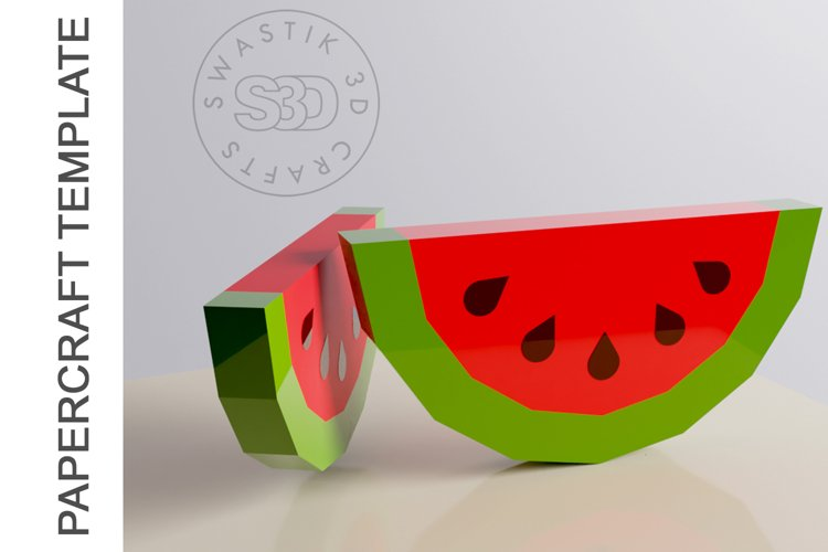 PDF Template Of 3D Watermelon Papercraft lowpoly SVG DXF example image 1