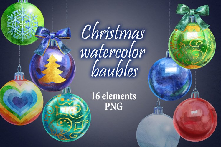 Watercolor Christmas ball clipart example image 1