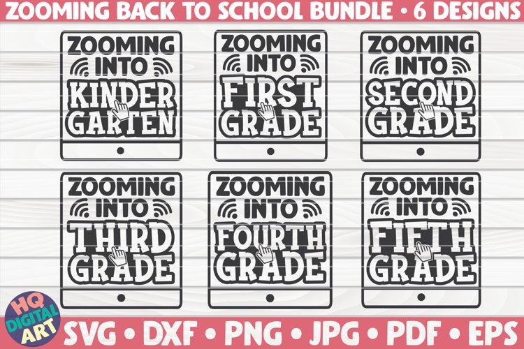 Zooming Back to school SVG Bundle|6 designs example image 1