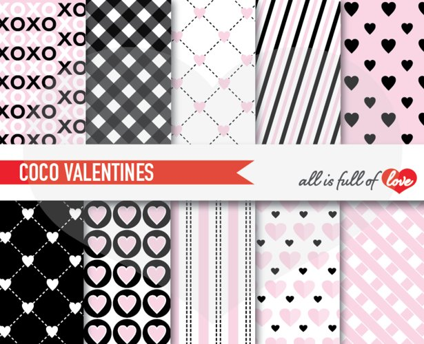 Pink and Black Valentines Day Patterns Coco Channel Digital Paper Pack example image 1