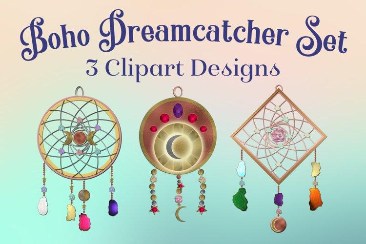 Boho Dreamcatcher Clipart - 3 Decorative Clipart Designs example image 1