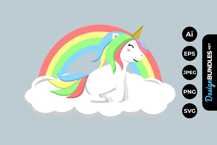 Rainbow Unicorn Clipart example image 1
