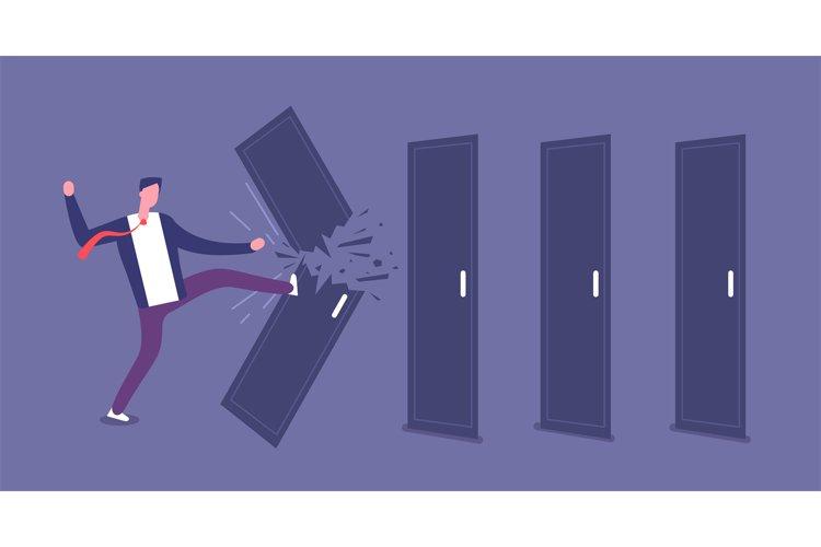 Breaking door. Powerful businessman overcomes barriers, road example image 1