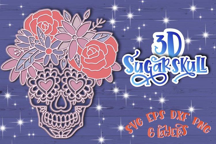 3D Sugar Skull svg Papercut svg Mandala 3d