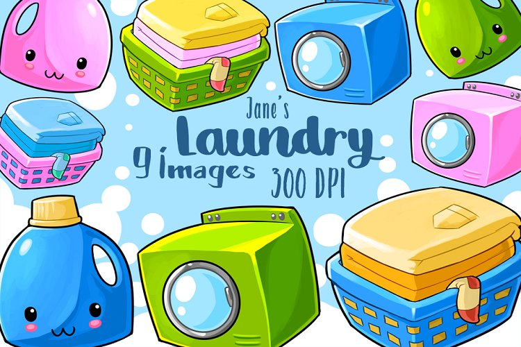 Kawaii Laundry Clipart example image 1