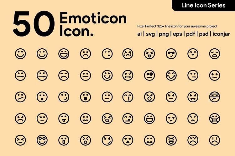 50 Emoticon Line Icon example image 1