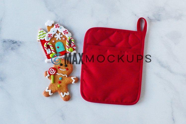 Christmas pocket kitchen potholder mockup, oven mitt hot pad