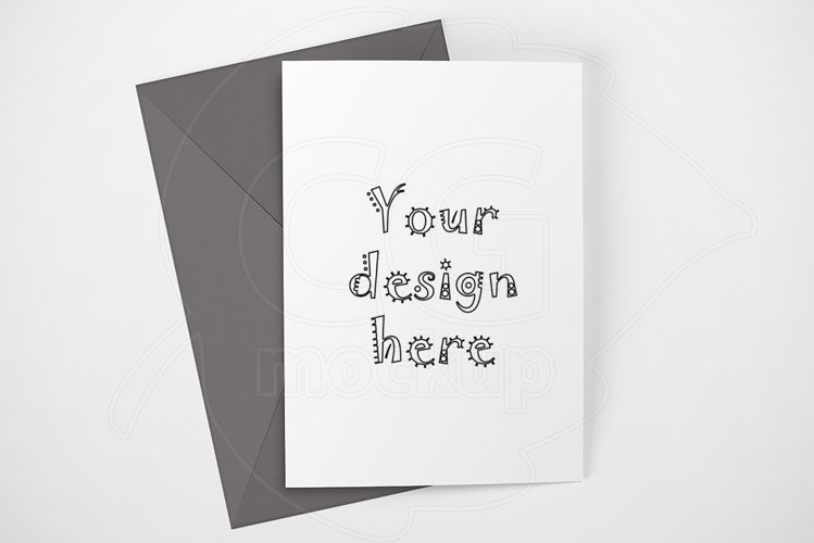 Clean card mock up gray envelope PSD example image 1