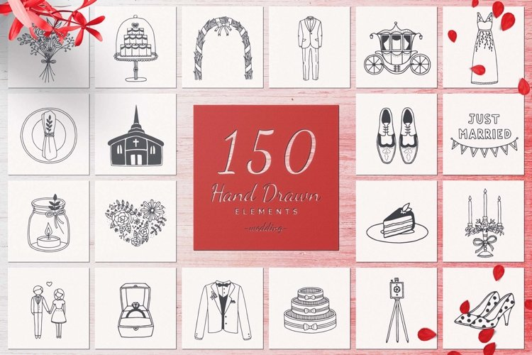 150 Hand Drawn Elements -Wedding- example image 1