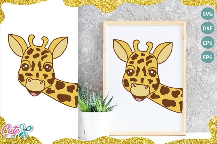 Giraffe face SVG cut file for crafter example image 1