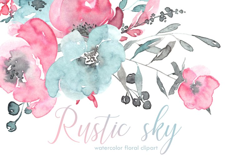 Rustic pink, blue watercolor flowers example image 1